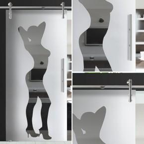 """Glasschiebetür 138-1-f-v1000 """"Frau"""""""